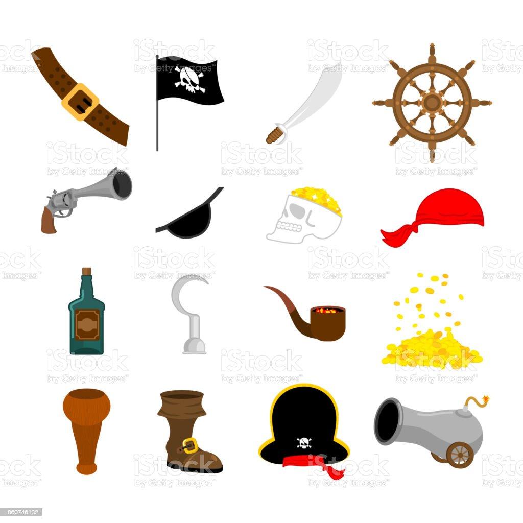 Korsan Icon Set Bayrak Ve Kılıcı Korsan şapkası Ve Tahta Bacak Göz