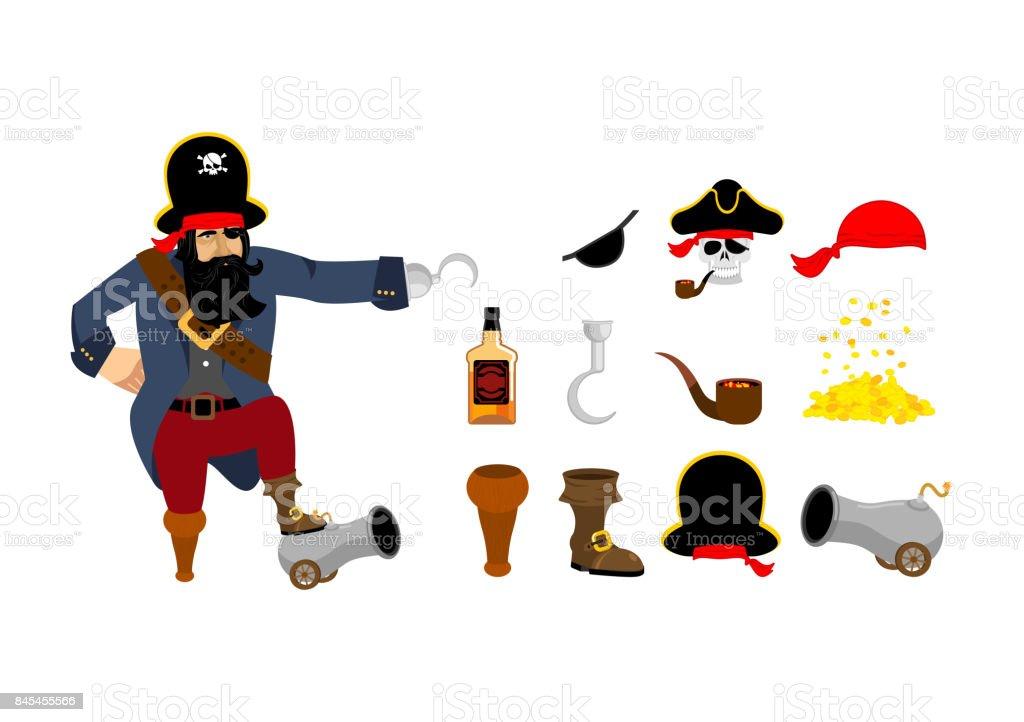 Piraten Set Piraten Hut Augenklappe Und Pfeife Knochen Und Schädel ...