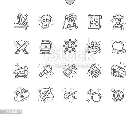 istock Pirate Set Well-crafted Pixel Perfect Vector Thin Line Icons 30 2x Grid for Web Graphics and Apps. Simple Minimal Pictogram 1185193616