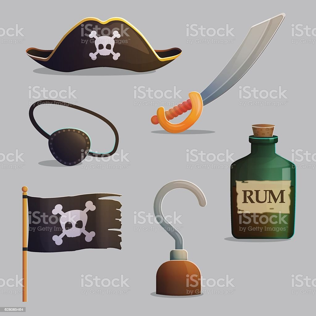 Pirate ship accessories collection vector art illustration