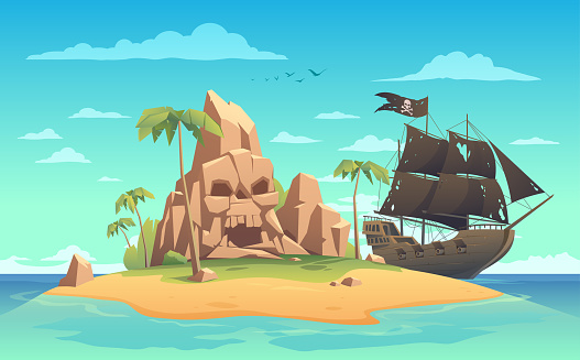 Pirate ship and island with skull cave