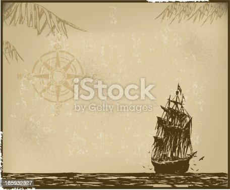 Pirate Ship Background with Compass. Grunge style background illustration of a pirate ship and compass. Check out my