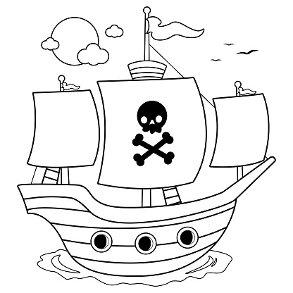 Pirate ship. Black and white coloring book page