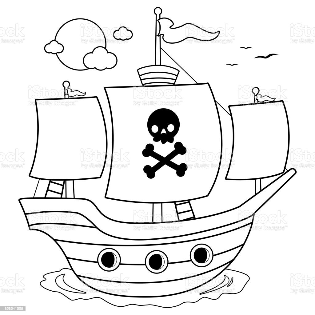 Pirate ship. Black and white coloring book page vector art illustration
