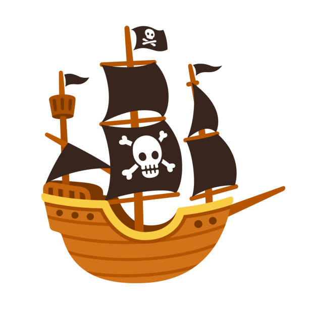 Pirate ship cartoon Stylized cartoon pirate ship illustration with Jolly Roger and black sails. Cute vector drawing. pirate ship stock illustrations
