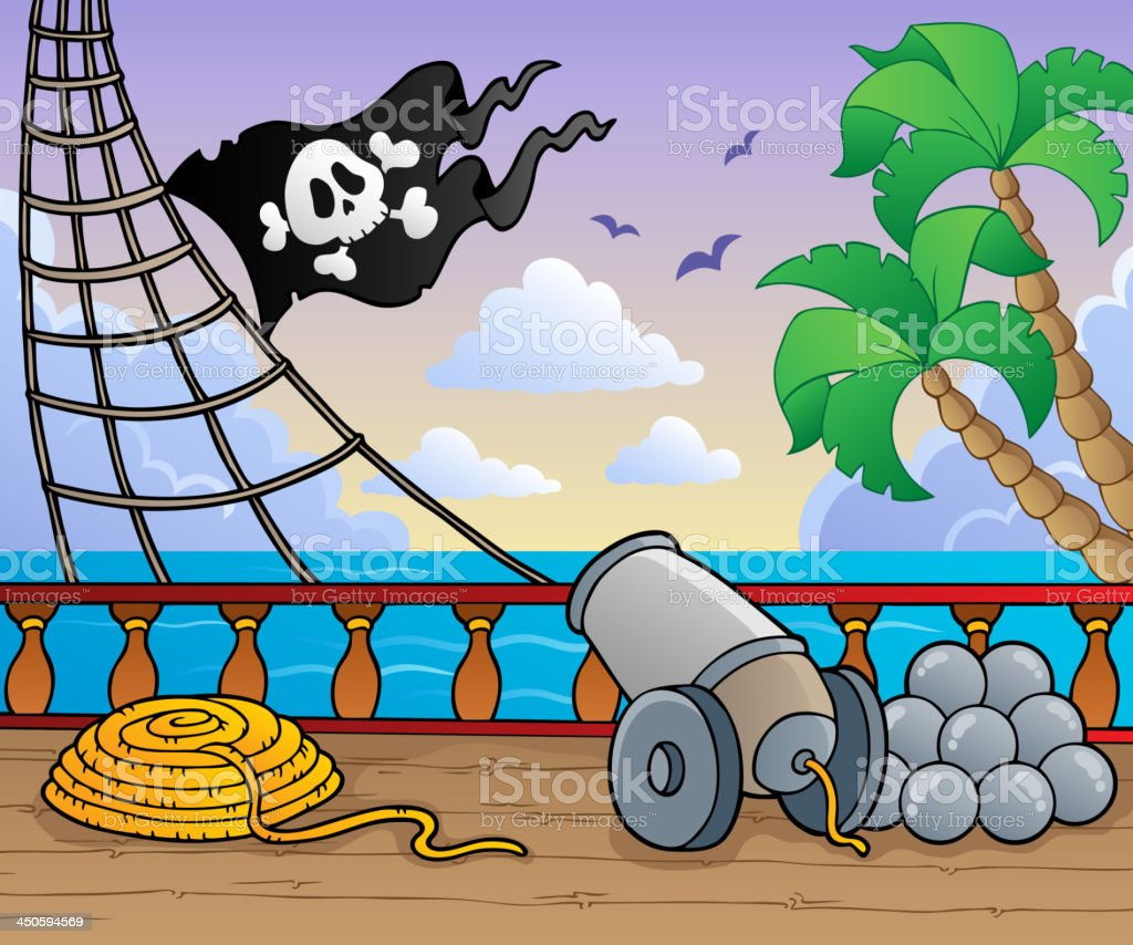 Pirate ship deck theme 1 vector art illustration