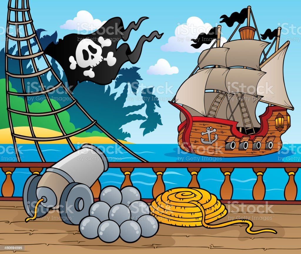 Pirate ship deck theme 4 vector art illustration