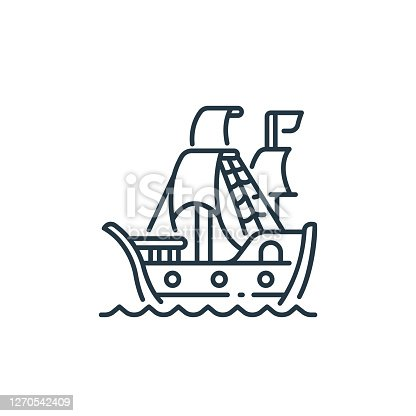 istock pirate ship icon vector from pirate concept. Thin line illustration of pirate ship editable stroke. pirate ship linear sign for use on web and mobile apps, logo, print media.. 1270542409