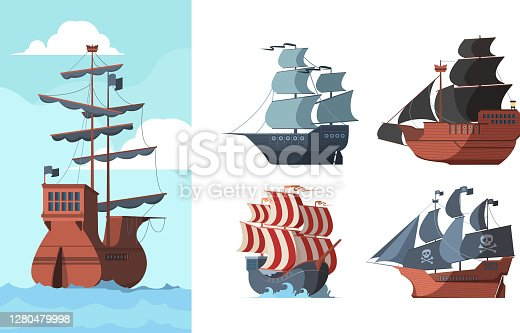 istock Pirate ship. Marine old transport ocean damaged wooden boat galleons vector pictures 1280479998
