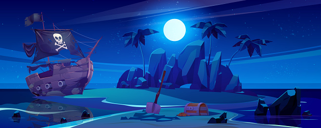 Pirate ship moored on night island with treasure