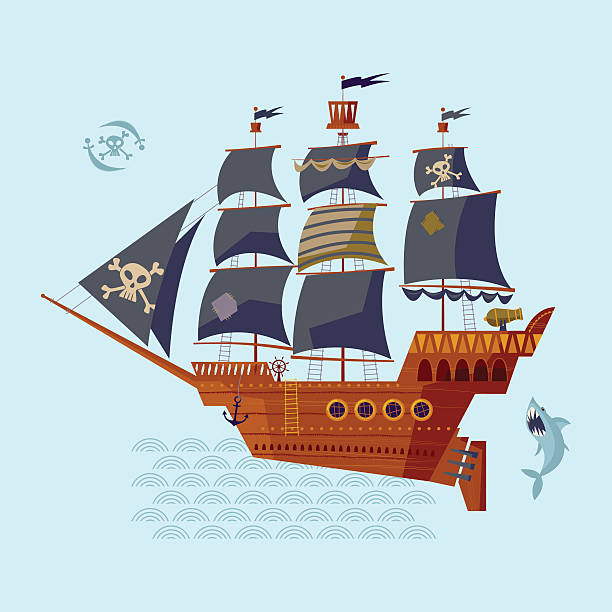 Pirate Ship. Nautical Collection. Pirate Ship. Nautical Collection. Vector illustration pirate ship stock illustrations