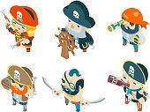 Isometric pirate ship crew corsair buccaneer filibuster sea dog sailors fantasy RPG treasure characters game flat design vector illustration