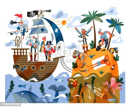 istock Pirate ship sailing to island with sailors digging treasure. Captain with parrot and sailors on ship in sea or ocean, pirates digging gold and money. Adventure and marine piracy vector illustration 1295780490