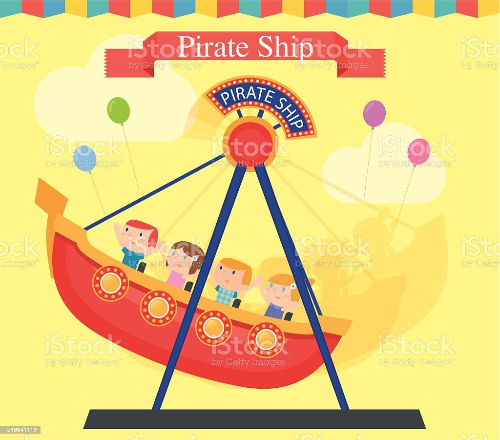 pirate ship speed aamusement park ride stock vector art 518641119