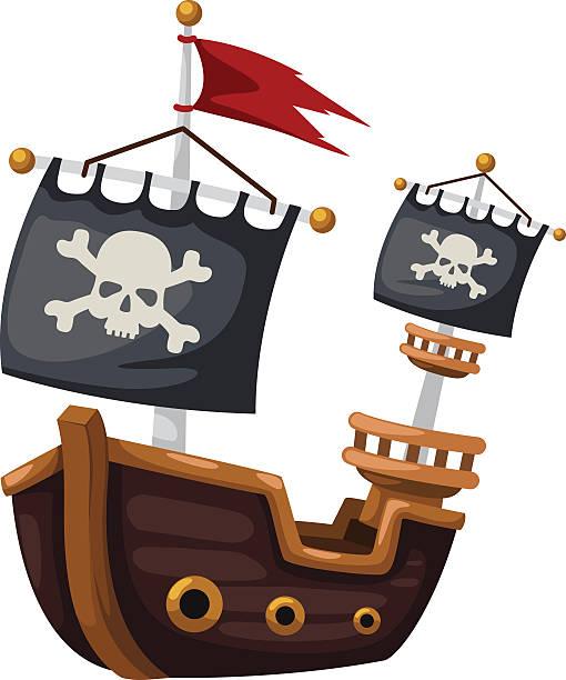 Pirate ship Pirate ship vector illustration pirate ship stock illustrations