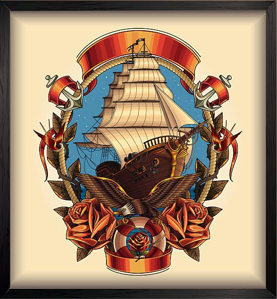 Pirate ship Pirate ship eps 9 pirate ship stock illustrations