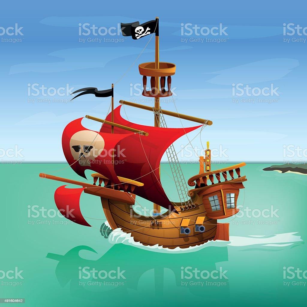 pirate ship vector illustration stock vector art 491604642 istock