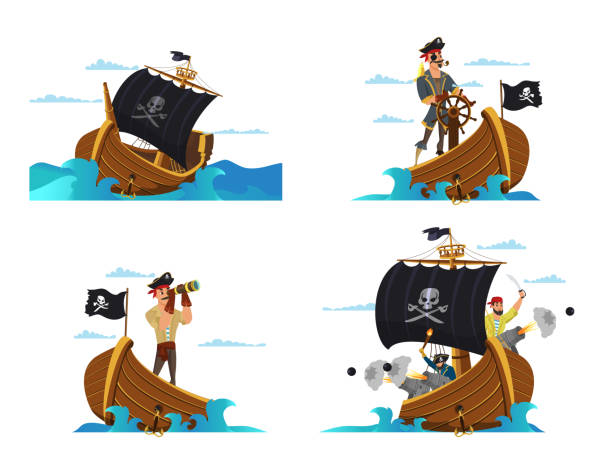 Pirate ship vector illustrations set isolated on white background Pirate ship vector illustrations set. Pirates, buccaneers, sailors cartoon characters. Sail boat with black flag drawing. Sea dogs, captain, boatswain, skipper. Parrot on shoulder. Water attack, fight pirate ship stock illustrations
