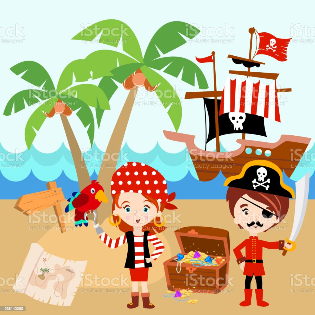 pirate ship with a boy a and a red parrot stock vector art