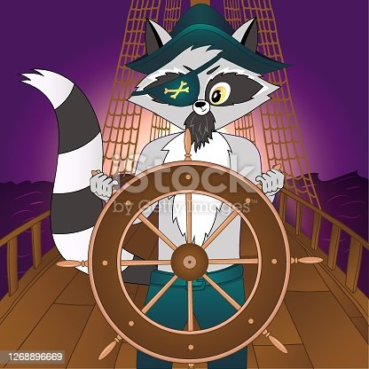 Pirate ship with captain.Vector illustration of sail boat bridge view. Travel illustration on the sunset. Boat helm banner for travel agency, print, movie, mobile app, games. Vector raccoon character