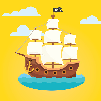 Pirate ship with white sails and black scull flag