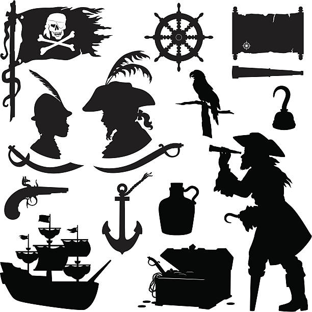 pirate silhouettes - pirates stock illustrations, clip art, cartoons, & icons
