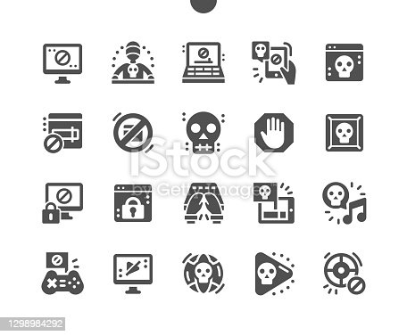 Pirate sites. Application blocked. Hacking software. Computer failure. Pirate games and music. Dark net. Vector Solid Icons. Simple Pictogram