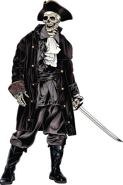 Pirate Skeleton Captain vector art illustration