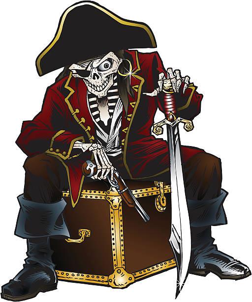 Pirate Skeleton vector art illustration