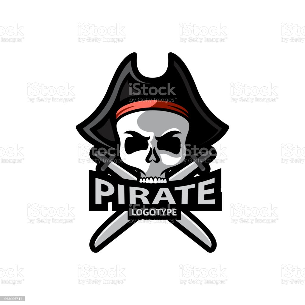 Pirate Skull and crossed sabers badge, logo. Vector illustration design vector art illustration