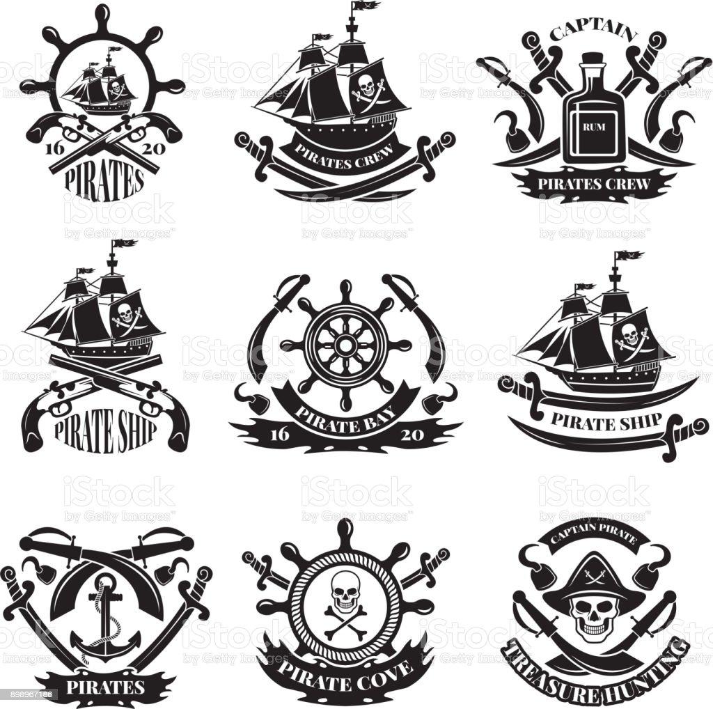 Pirate skull, corsair ships, symbols of piracy. Monochrome labels set vector art illustration