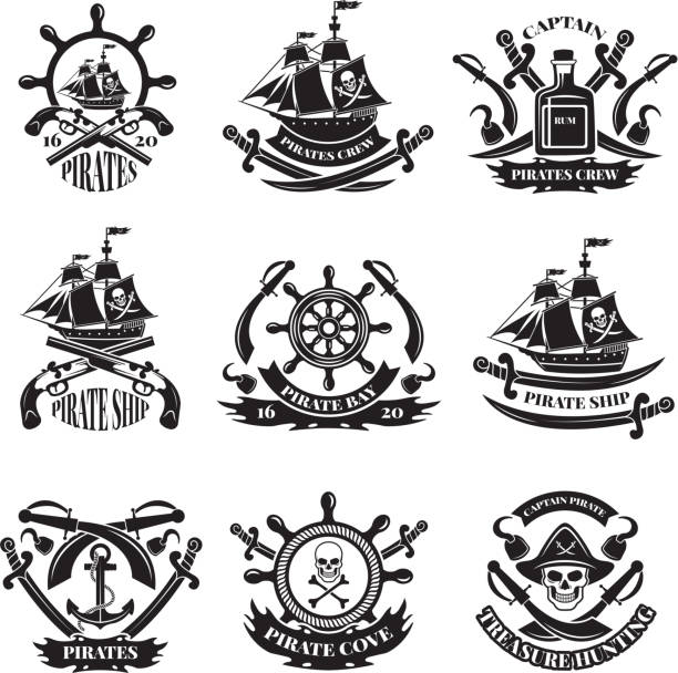 Pirate skull, corsair ships, symbols of piracy. Monochrome labels set vector art illustration