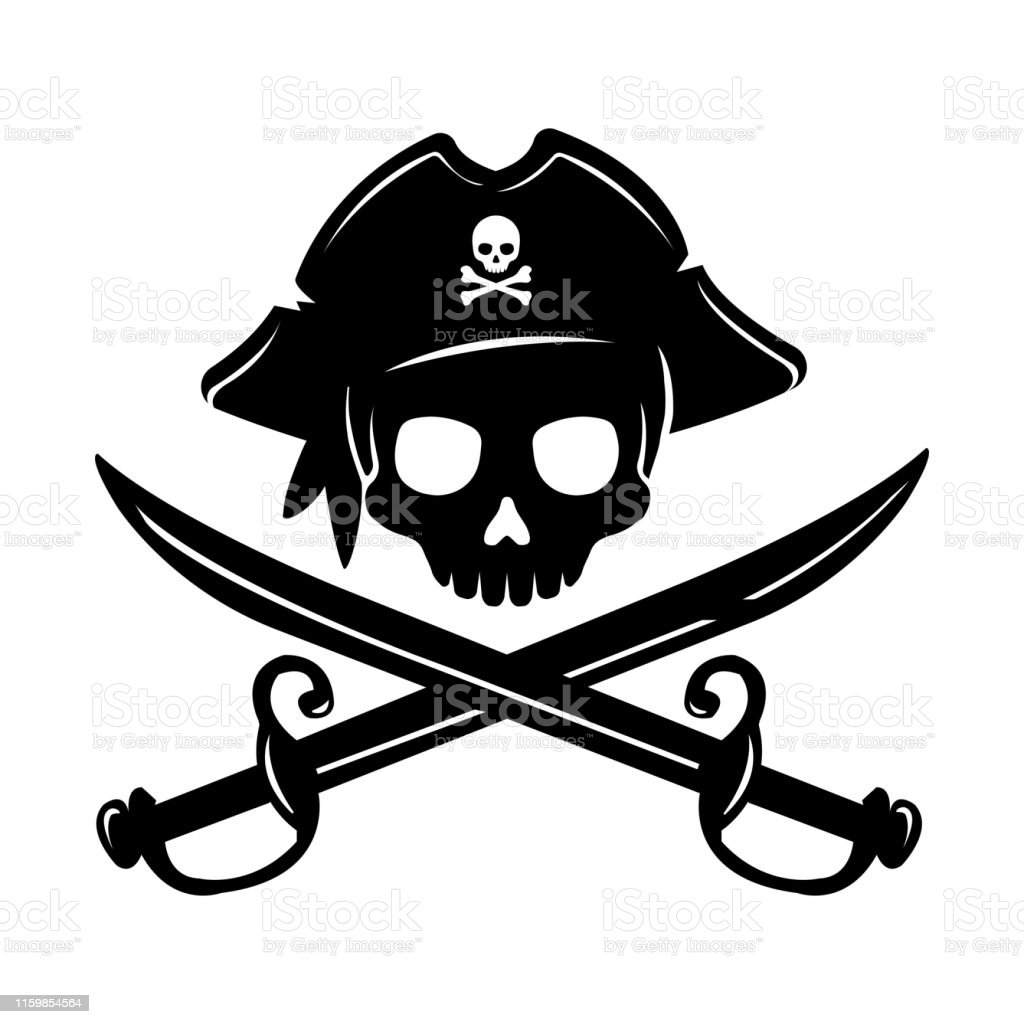 Piraat schedelembleem illustratie met gekruiste sabels. - Royalty-free Achtergrond - Thema vectorkunst