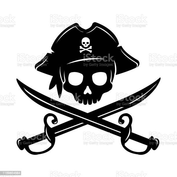 Piraat Schedelembleem Illustratie Met Gekruiste Sabels Stockvectorkunst en meer beelden van Achtergrond - Thema