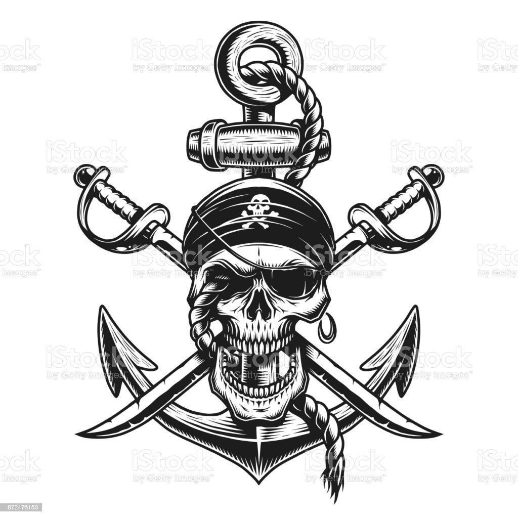 Pirate Skull Emblem With Swords Anchor Stock Illustration ...