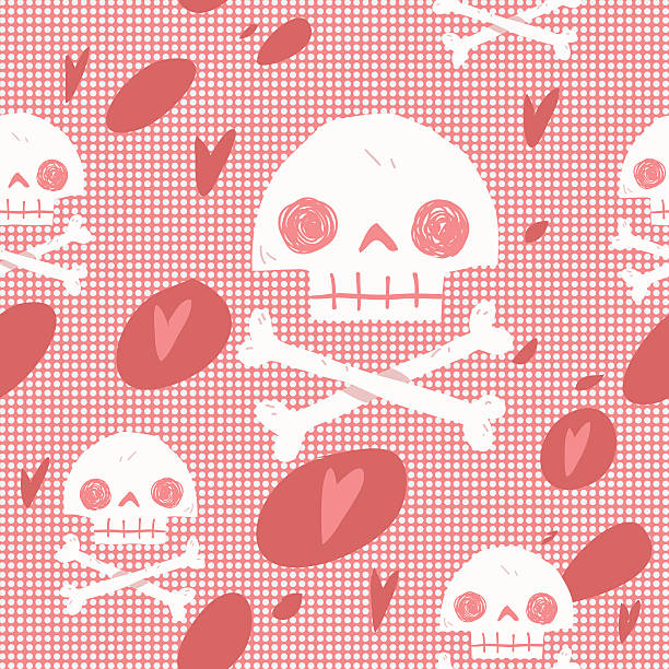 Pirate skull flag party card seamless background. vector art illustration