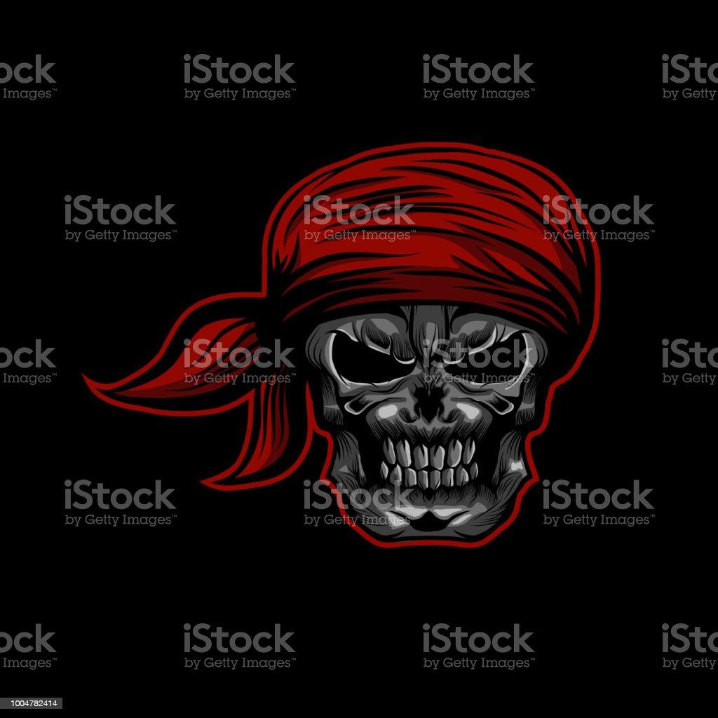 Pirate skull head with Hat headband vector illustration vector art illustration
