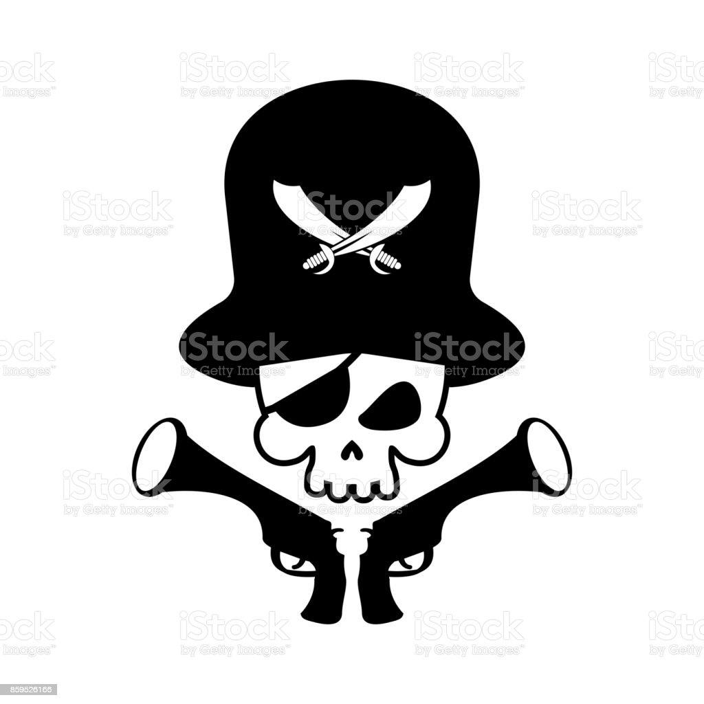 Pirate Skull Icon Head Of Skeleton And Gun Pirate Symbol Vector