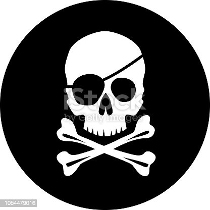 Vector illustration of a pirate skull and cross bones on a black circle background.
