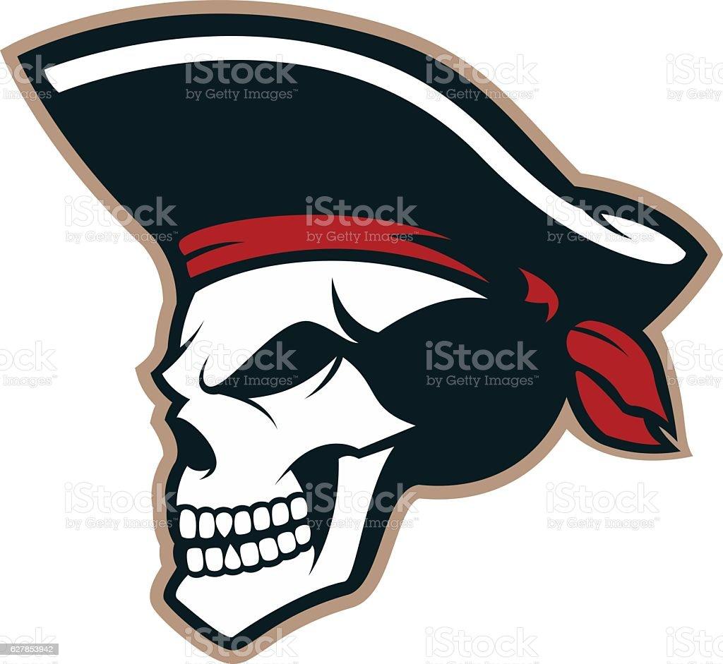 Pirate skull mascot vector art illustration