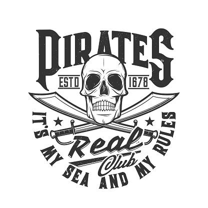 Pirate skull, swords t-shirt print, skeleton flag