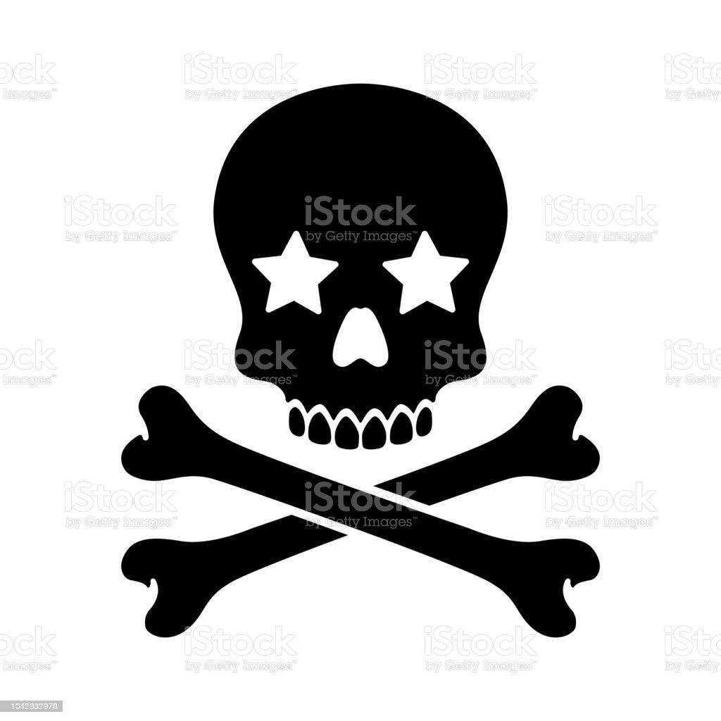 Ilustración de Vector Cráneo De Pirata Halloween Estrellas Icono ...