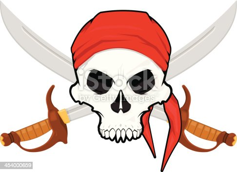 istock Pirate Skull with a Crossed Cutlas 454000659