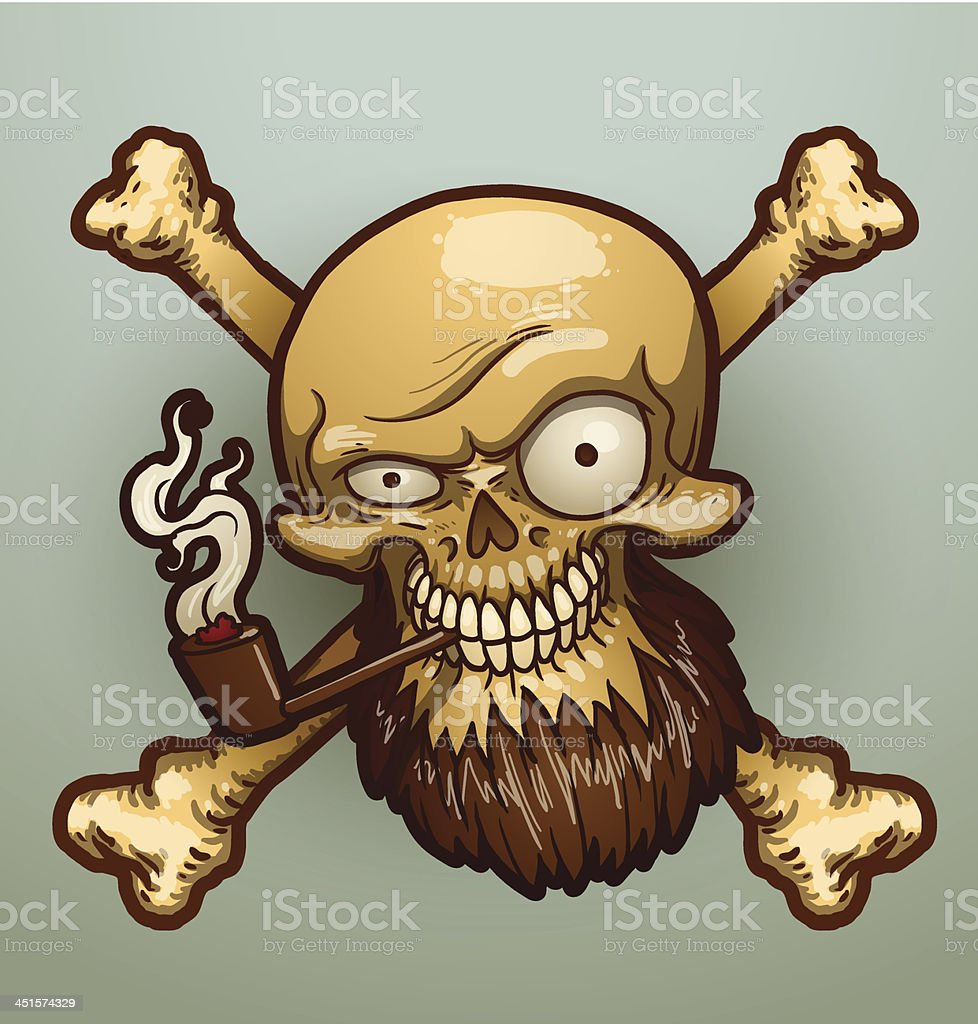Pirate Skull With A Tobacco Pipe Stock Vector Art & More Images of ...