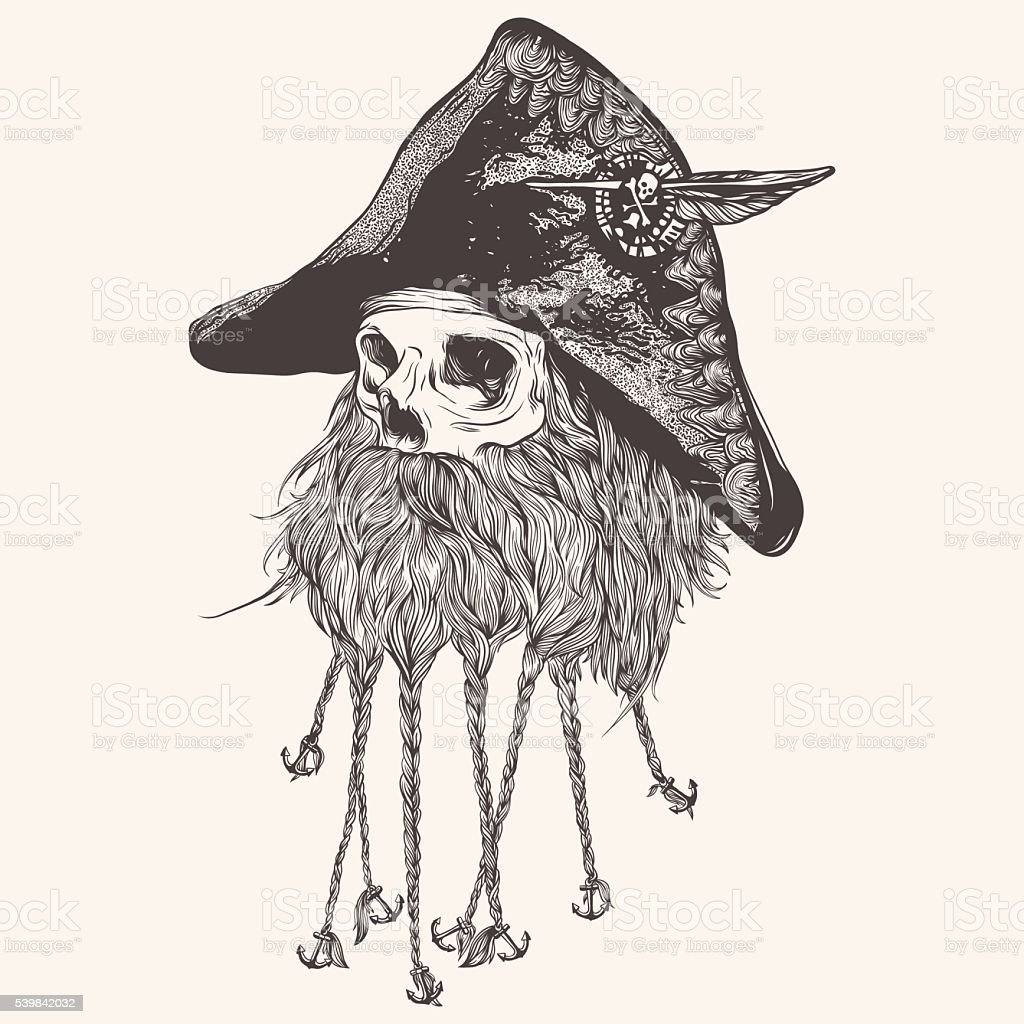 pirate skull with beard vector illustration stock vector art