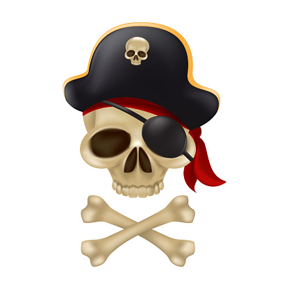 Pirate skull with crossbones in the captain's hat. 3D sign or buccaneer emblem. Funny vector illustration of jolly roger with a red bandana and black blindfold isolated on white background