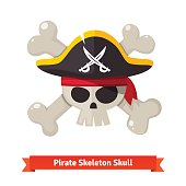 Pirate skull with crossed bones in red bandana and black cocked hat. Flat style vector illustration isolated on white background.