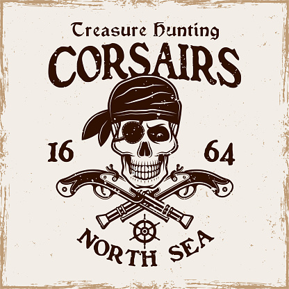 Pirate skull with two crossed pistols vector emblem in vintage style isolated on on background with removable grunge textures