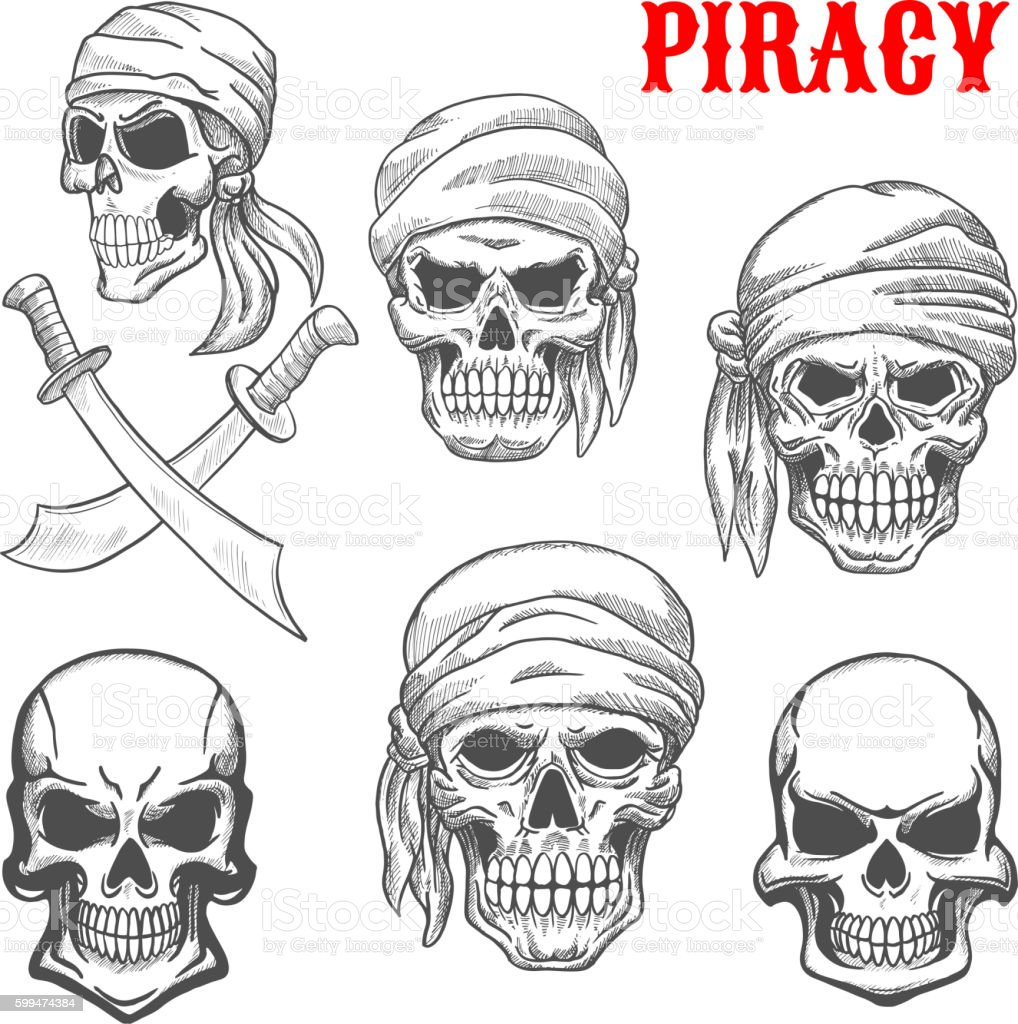 pirate skulls and crossbones sketch icons stock vector art