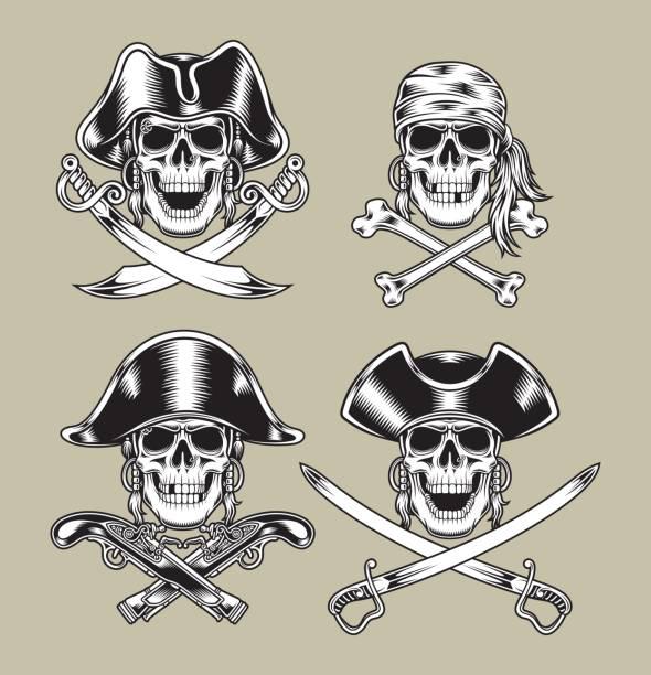 pirate skulls - pirates stock illustrations, clip art, cartoons, & icons